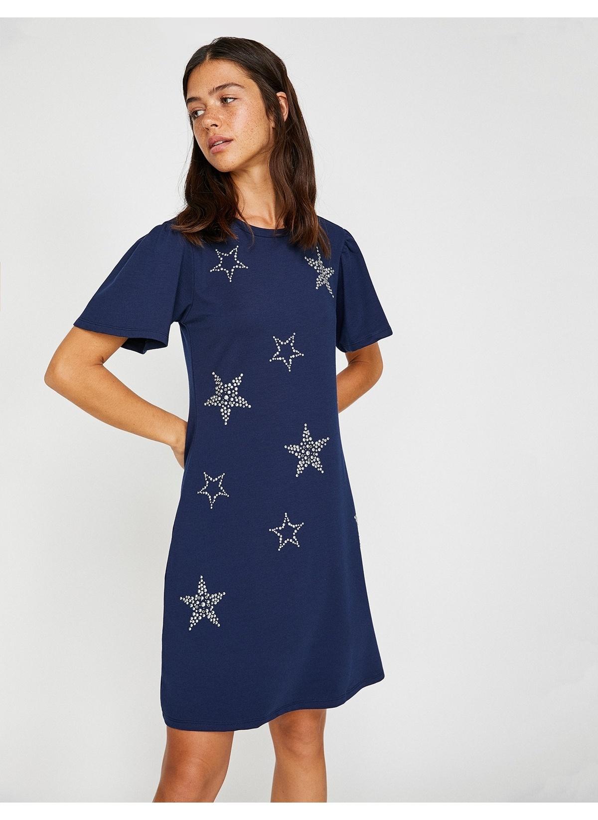 d35d71e5b72a8 Koton Kadın Yıldız Desenli Elbise Sax   Morhipo   21610216